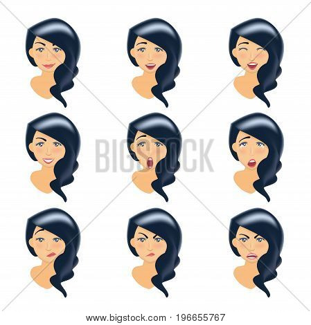 Set of woman's emotions. Facial expression. Brunette girl Avatar. Vector illustration