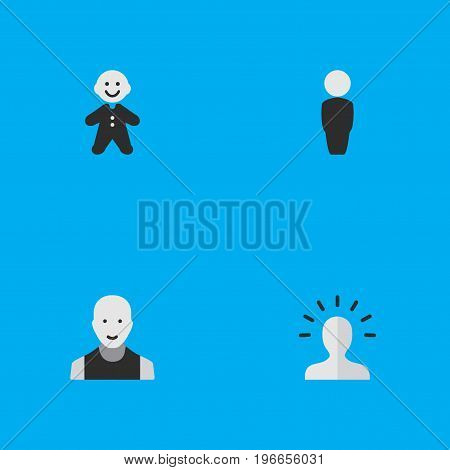 Elements Contour, Man, Person And Other Synonyms Child, Male And Man.  Vector Illustration Set Of Simple Profile Icons.