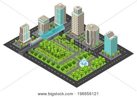 Isometric modern cityscape concept with buildings garden fountain road and subway station isolated vector illustration