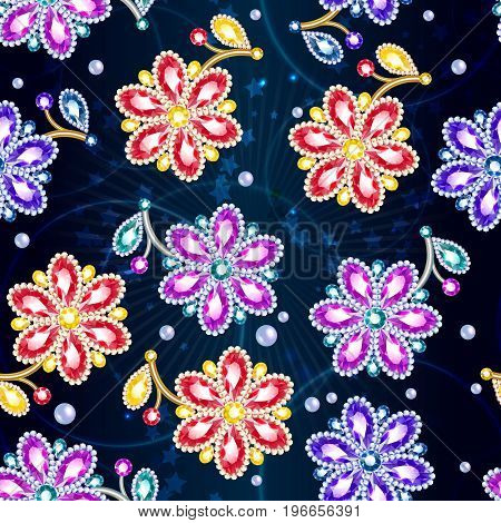 Cartoon colorful glossy brooches seamless pattern with nice beautiful gems and jewels on light starry background vector illustration