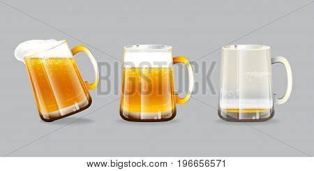Vector illustration of beer glasses. One overflow mug, one full mug and one empty mug with foam and bubbles on grey background.