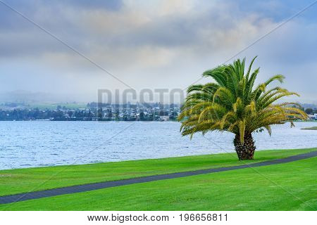 Scenery of Lake Taupo in the morning North Island of New Zealand