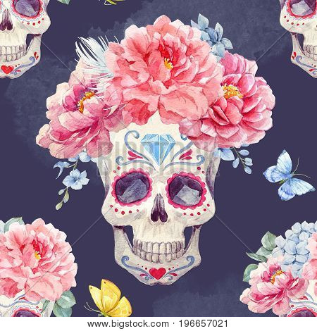 Beautiful seamless pattern with watercolor skulls and flowers