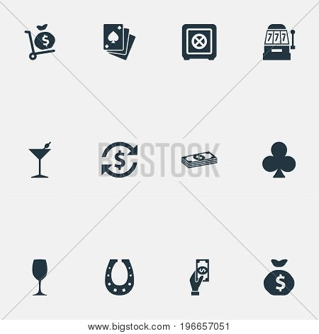Elements Drink, Cash, Poker And Other Synonyms Cash, Shoe And Giving.  Vector Illustration Set Of Simple Gambling Icons.