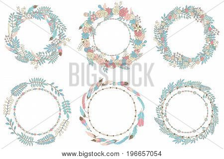 Vector flowers beautiful wreathes set. Elegant floral collection with isolated blue green pink flowers and leaves. Hand drawn vector illustration. Design for invitation wedding or greeting cards.