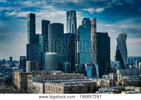 Moscow city modern business center. View from high building.