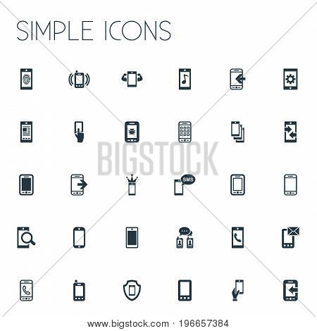 Elements Incoming Calls, Virus, Outbound Signal And Other Synonyms Linkage, Settings And Touch.  Vector Illustration Set Of Simple Smartphone Icons.