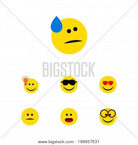 Flat Icon Gesture Set Of Pleasant, Wonder, Happy And Other Vector Objects