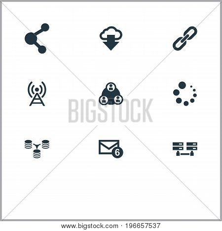 Elements Teamwork, Inbox, Server Relationship And Other Synonyms Message, Cloud And Database.  Vector Illustration Set Of Simple Network Icons.