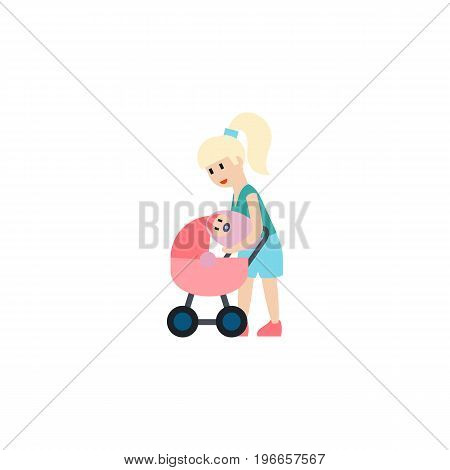 Mother Vector Element Can Be Used For Mother, Perambulator, Baby Design Concept.  Isolated Perambulator Flat Icon.