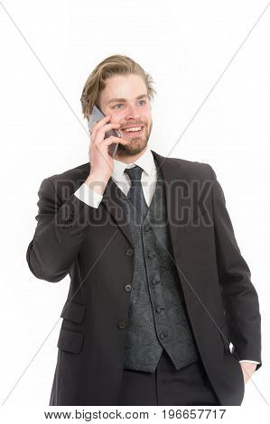 Manager With Beard On Smiling Face.