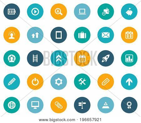 Elements Fastener Paper, Ladder, Find Employee And Other Synonyms Repair, Earth And Scientist.  Vector Illustration Set Of Simple Startup Icons.