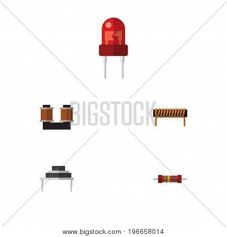 Flat Icon Appliance Set Of Coil Copper, Resistance, Recipient And Other Vector Objects