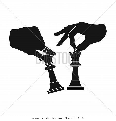 Hands holding chess pieces. Chess single icon in black style vector symbol stock illustration .