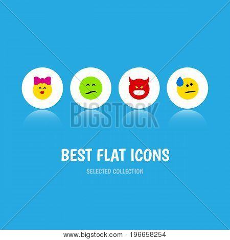 Flat Icon Face Set Of Pouting, Tears, Frown And Other Vector Objects