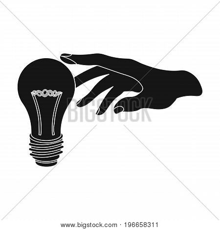 Replacement of an electric bulb. Incandescent lamp single icon in black style vector symbol stock illustration .