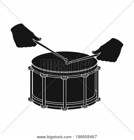 Drum, percussion musical instrument. Drum shot single icon in black style vector symbol stock illustration .