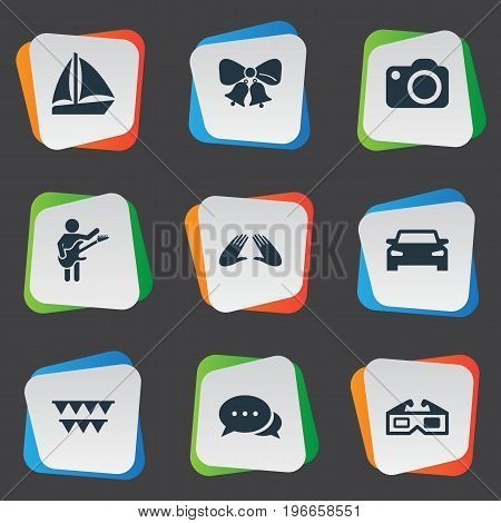 Elements Correspondence, Guitar Player, Automobile And Other Synonyms Celebration, Correspondence And Cake.  Vector Illustration Set Of Simple Party Icons.