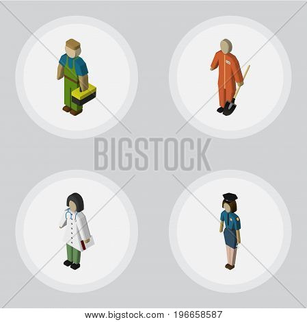 Isometric Human Set Of Cleaner, Policewoman, Doctor And Other Vector Objects