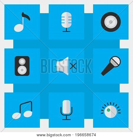 Elements Loudspeaker, Note, Speaker And Other Synonyms Loudspeakers, Note And Mic.  Vector Illustration Set Of Simple Sound Icons.