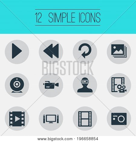 Elements Update, Movie, Image And Other Synonyms Rearward, Reel And Cam.  Vector Illustration Set Of Simple Media Icons.