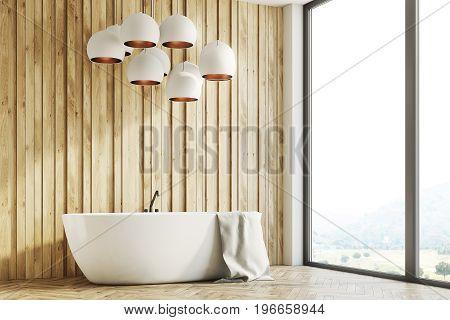 Wooden Bathroom Interior, Side