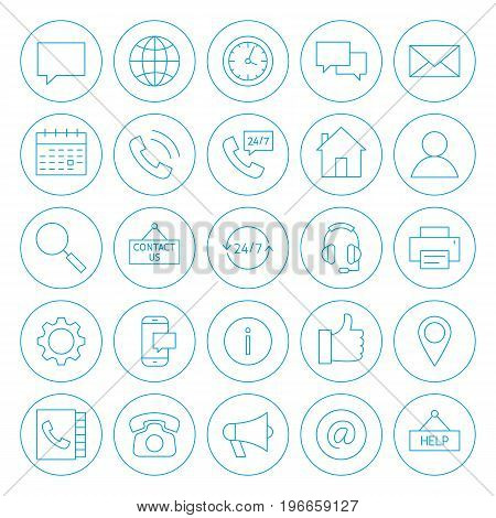 Line Circle Contact Us Icons. Vector Illustration of Outline Business Objects.