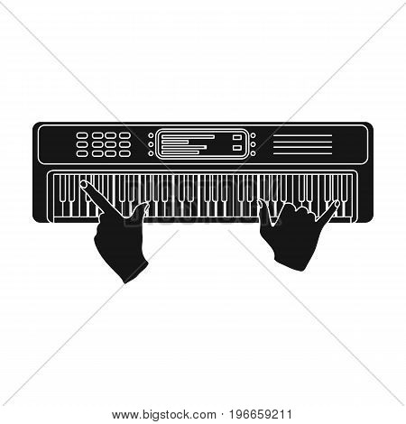 Playing on an electronic keyboard instrument. Synthesizer, Electroorgan single icon in black style vector symbol stock illustration .