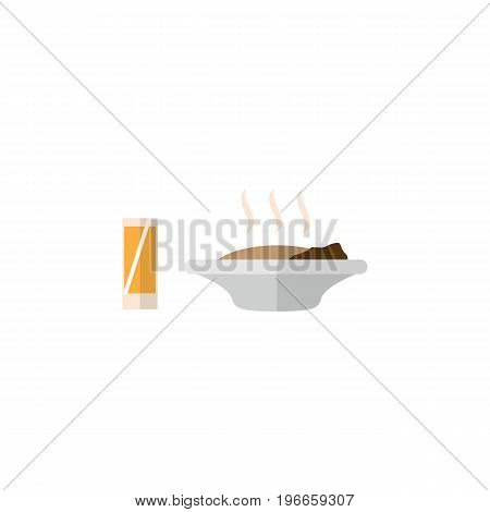 Lunch Vector Element Can Be Used For Lunch, Food, Drink Design Concept.  Isolated Food With Drink Flat Icon.