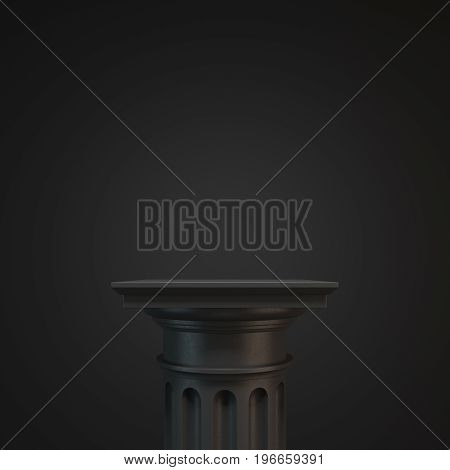 Black classic column against a black background. Concept of classicism and decoration trends. 3d rendering mock up