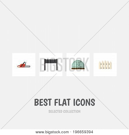 Flat Icon Dacha Set Of Hacksaw, Wooden Barrier, Hothouse And Other Vector Objects
