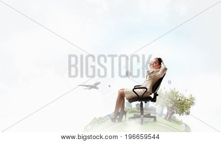 Lady boss in office chair