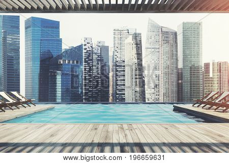 Wooden pier with rows of white and wooden deck chairs near a pool. Ocean. Cityscape. Cloudless sky. 3d rendering mock up