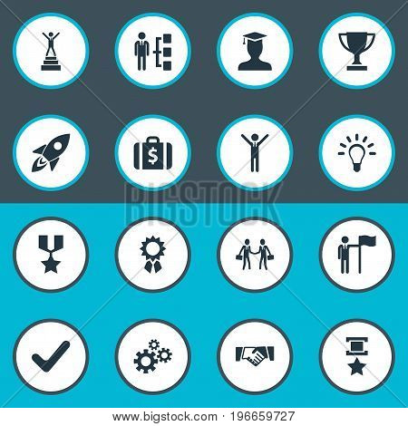 Elements Military Medal, Gears, Innovation And Other Synonyms Medal, Military And Money.  Vector Illustration Set Of Simple Champion Icons.