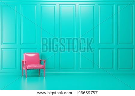 Bright pink armchair is standing in an empty emerald room with a blue floor. Concept of minimalism. 3d rendering mock up