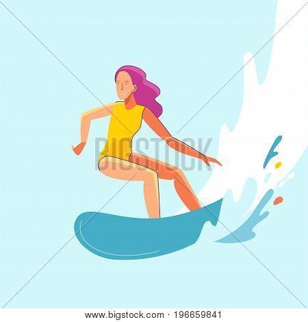 Vector Summer Illustration In Modern Trendy Flat Linear Style - Happy Girl Surfing