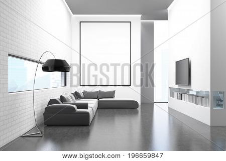 White brick wall living room with a gray sofa poufs a framed vertical poster a TV set hanging above a bookshelf on a white wall. 3d rendering mock up