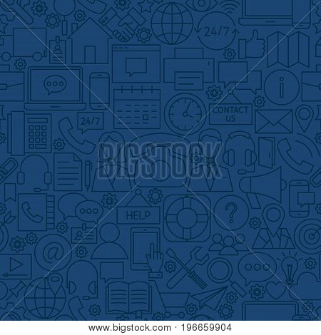 Line Contact Us Seamless Pattern. Vector Illustration of Outline Tile Background. Business Communication.