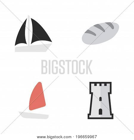 Elements Schooner, Bakery, Tower And Other Synonyms Bread, Tower And Castle.  Vector Illustration Set Of Simple Holiday Icons.