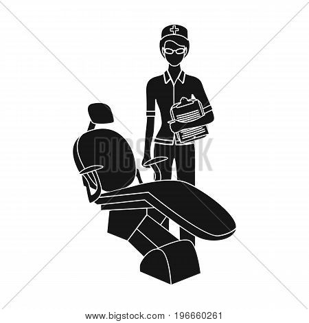 The doctor is a dentist in the dentist's office. Medicine single icon in black style vector symbol stock illustration .