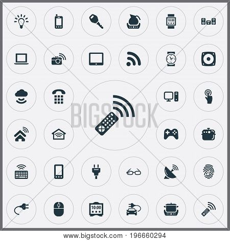 Elements Smart House, Touchpad, Call And Other Synonyms Computer, Multimedia And Mouse.  Vector Illustration Set Of Simple Internet Icons.