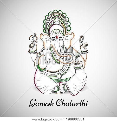 illustration of Hindu God Ganesh with Ganesh Chaturthi text on the occasion of Hindu Festival Ganesh Chaturthi
