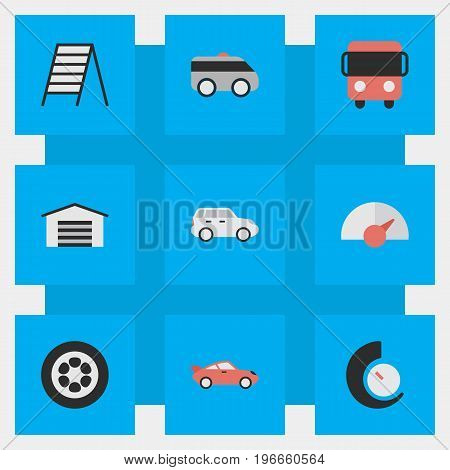 Elements Speedometer, Wheel, Stairs And Other Synonyms Shed, Garage And Truck.  Vector Illustration Set Of Simple Traffic Icons.