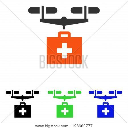 Drug Drone Delivery vector pictogram. Illustration style is a flat iconic colored symbol with different color versions.