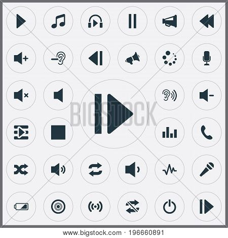 Elements Silent, Headphone, Stop And Other Synonyms Speech, Low Battery And Stop.  Vector Illustration Set Of Simple Music Icons.