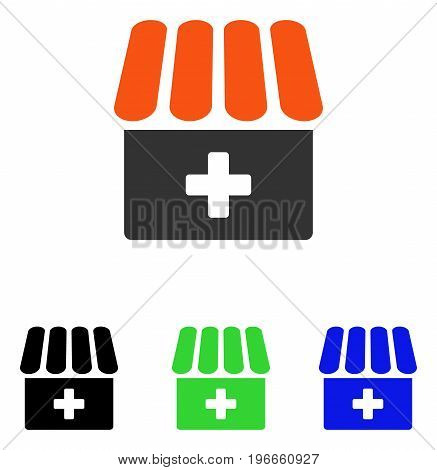 Drugstore vector icon. Illustration style is a flat iconic colored symbol with different color versions.