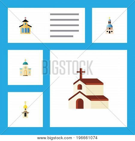 Flat Icon Christian Set Of Structure, Catholic, Religion And Other Vector Objects