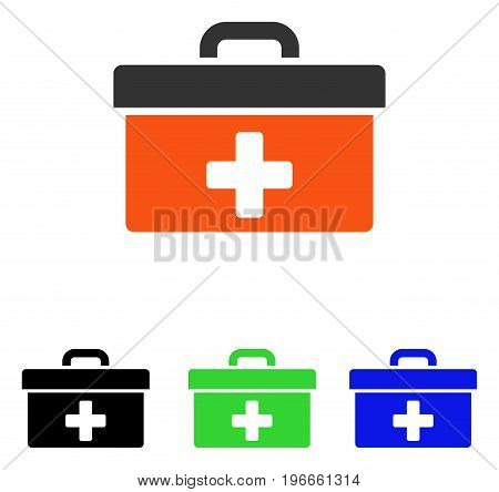 First Aid Toolbox vector pictogram. Illustration style is a flat iconic colored symbol with different color versions.