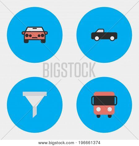 Elements Strainer, Auto, Autobus And Other Synonyms Delivery, Sedan And Percolator.  Vector Illustration Set Of Simple Transportation Icons.