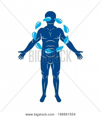 Vector illustration of human being standing created with a circle of water drops. Pure water as the driving force for human activity.